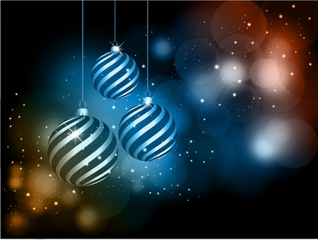 Decorative Christmas background with hanging baubles Stock Photo - 11476293