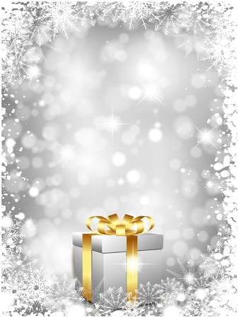 silver background: Luxury Christmas gift on a silver snowy background
