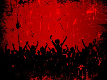 Silhouette of an excited audience on a grunge style background photo