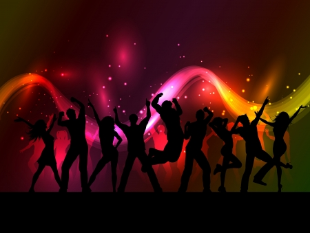 adolescent group: Silhouettes of people dancing on an abstract background of flowing lines and stars Stock Photo