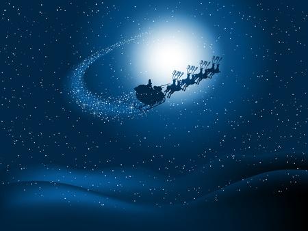papa noel en trineo: Silueta de Santa volando por el cielo nocturno cubierto de nieve con el rastro de estrellas