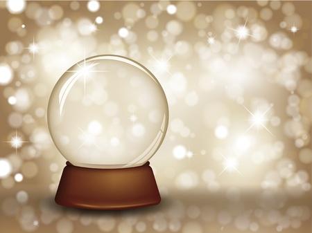 snow globe: Christmas snow globe on a glittery gold starry background