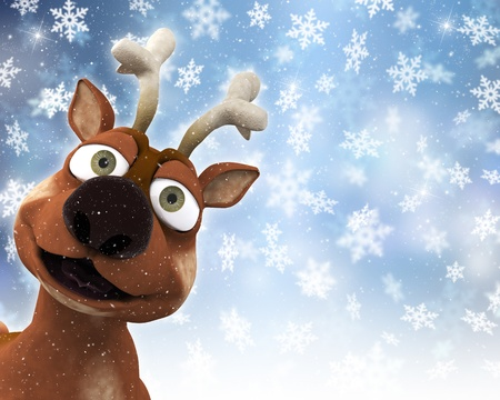 rudolf: Christmas background with a reindeer and snowflakes