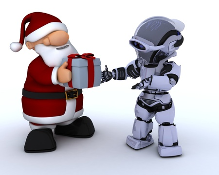 3D render of a robot and santa claus photo