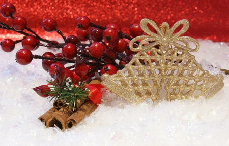 cinammon: Christmas background with berries, cinammon and bells nested in snow Stock Photo