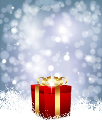 Christmas gift in snow on a blue glittery background Illustration