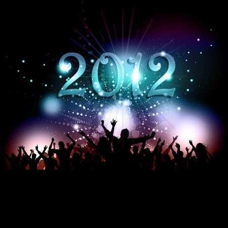 Silhouette of a party audience celebrating the New Year Vector