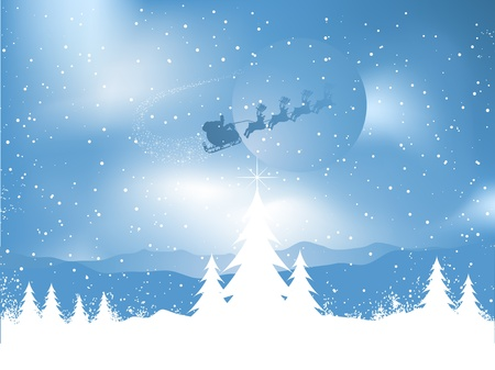 Silhouette of santa flying through the sky over a snowy landscape Vector