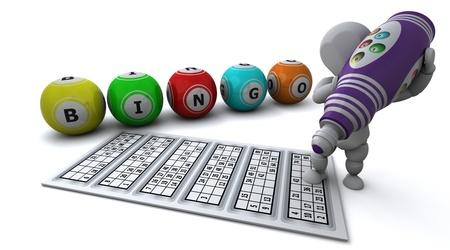 3D Render of a man playing bingo