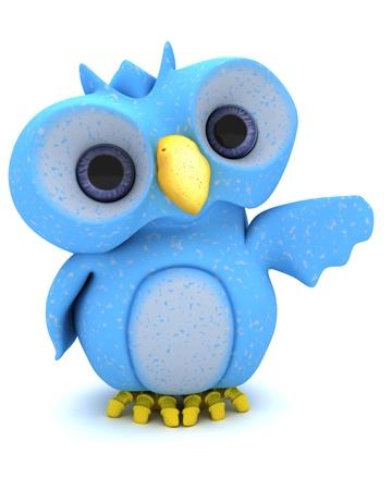 3D Render of a Cute Blue Bird Character Stock Photo