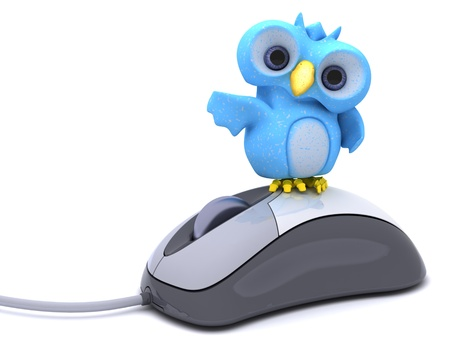 3D Render of a Cute Blue Bird Character 版權商用圖片