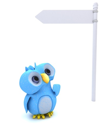 3D Render of a Cute Blue Bird Character photo