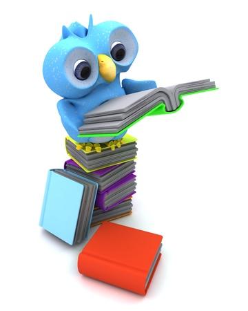 3D Render of a Cute Blue Bird Character photo