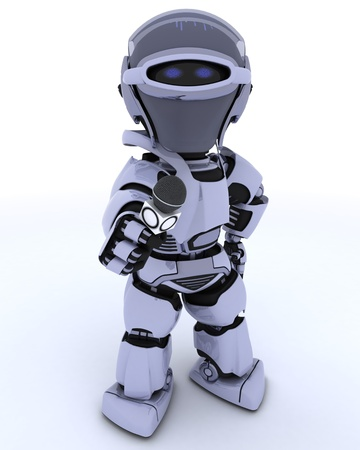 3D render of a Robot with a reporters microphone Stock Photo - 11863064