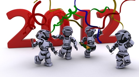 3D render of a Robot Bringing the new year in Stock Photo - 11863075