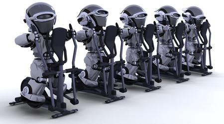3D render of robots on crosstrainers photo