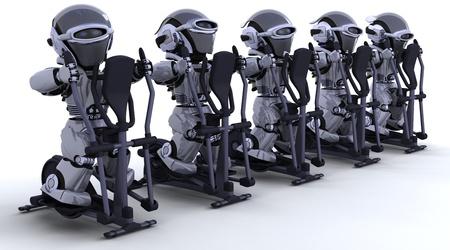 3D render of robots on crosstrainers Stock Photo - 11863080