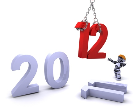 3D render of a Robot Bringing the new year in Stock Photo - 11863026