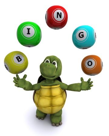 3d render of a tortoise with bingo balls