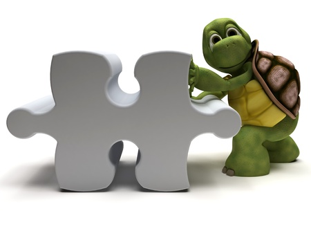 3D Render of a Tortoise with jigsaw puzzle Stock Photo - 11863062