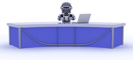 3D render of a robot sat at a desk reporting the news photo