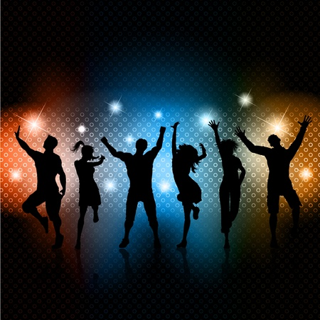 Silhouettes of people dancing on a glowing lights background