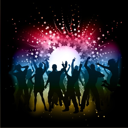 Silhouettes of people dancing on an abstract starburst background Stock Photo - 11984548