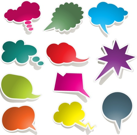 speech bubble: Large collection of brightly coloured speech bubbles Stock Photo