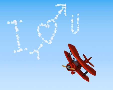 3D render of a biplane sky writing i love you photo