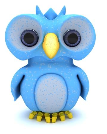 3D Render of a Cute Blue Bird Character Standard-Bild