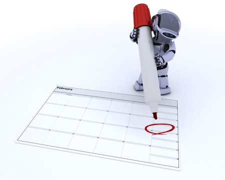 3D render of a robot with a calender Stock Photo - 12090752