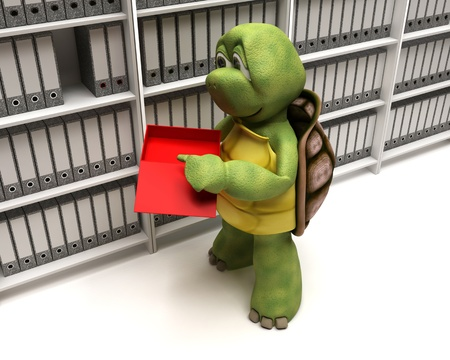 3D Render of a Tortoise filing documents photo