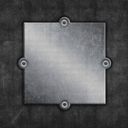 aluminium texture: Grunge background with old metal plate and screws Stock Photo