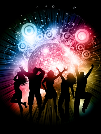 Silhouettes of people dancing on an abstract grunge background with mirror ball Illustration