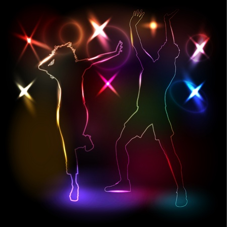 Glowing neon outlines of people dancing on lights background Vector