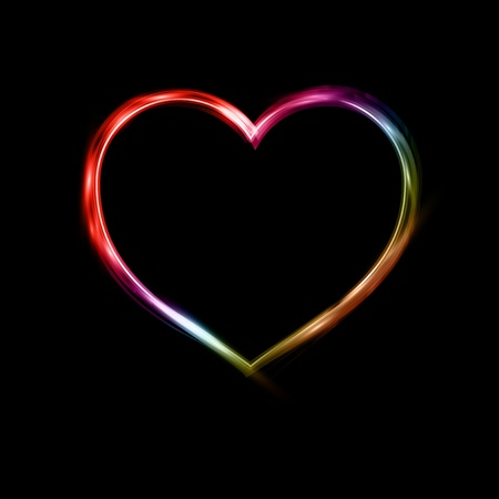 Valentines Day background with a neon heart shape