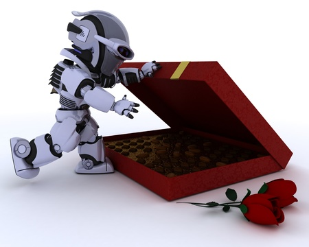 3D render of a robot with romantic gift Stock Photo - 12335104