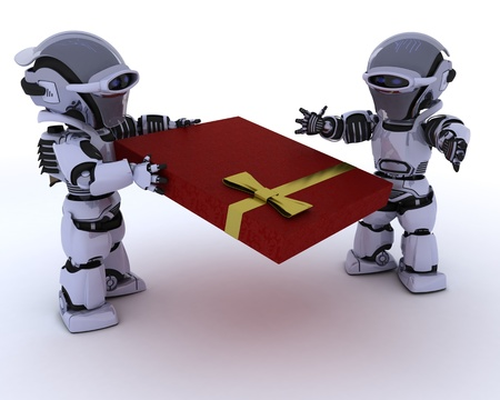 3D render of a robot with romantic gift Stock Photo - 12335120