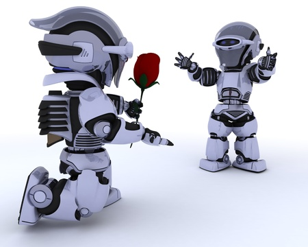 3D render of a robot with romantic gift Stock Photo - 12335097