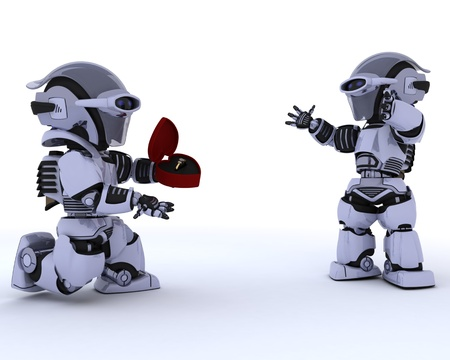3D render of a robot with romantic gift Stock Photo - 12335092