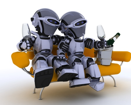 3D render of a robots sitting on a sofa drinking champagne Stock Photo - 12335102