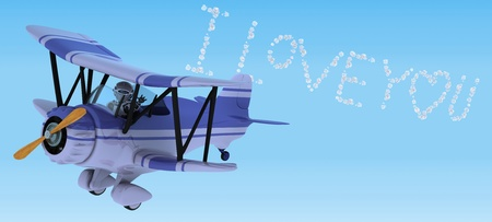 3D render of a robot flying a biplane sky writing Stock Photo - 12335126
