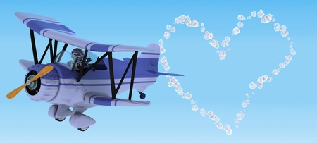 3D render of a robot flying a biplane sky writing Stock Photo - 12335128
