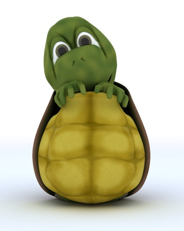 carapace: 3D render of a Tortoise Caricature Hiding in Their Shell