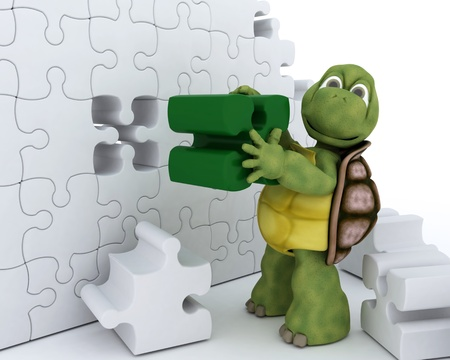 3D Render of a Tortoise with jigsaw puzzle Stock Photo - 12335105