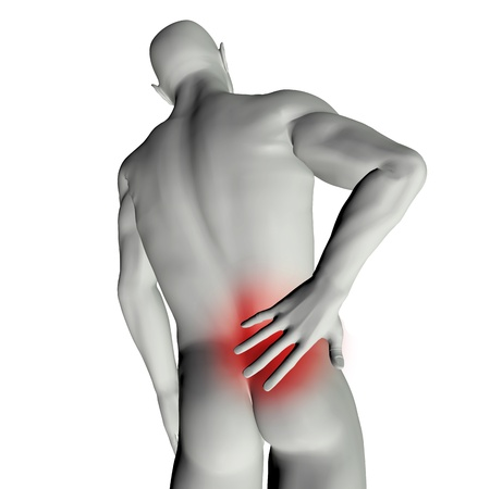 3D render of a man with back pain photo