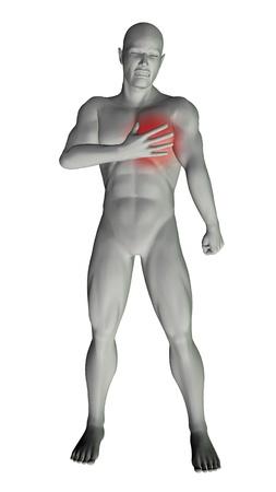 attacco cardiaco: 3D rendering di un uomo con dolore toracico