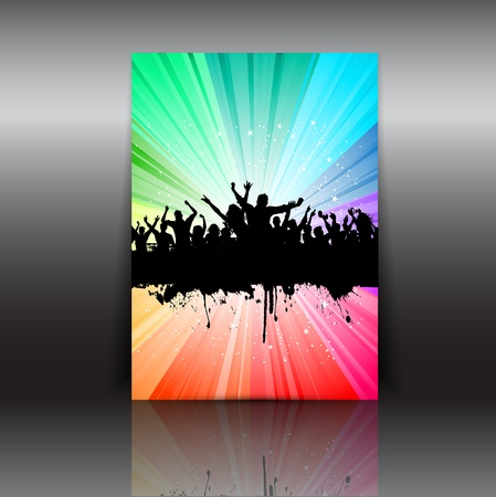 Illustration of a party crowd flyer layout