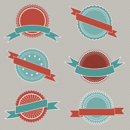 Collection of retro styled badges with ribbons photo