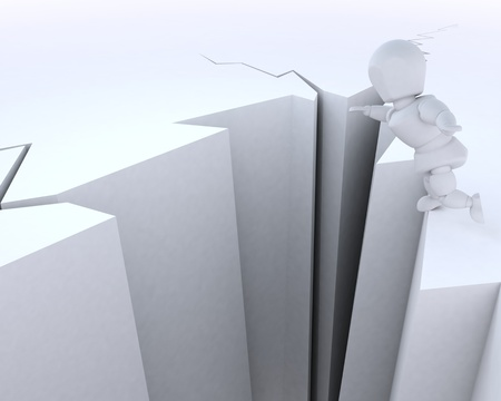 chasm: 3D render of a man on a cliff edge